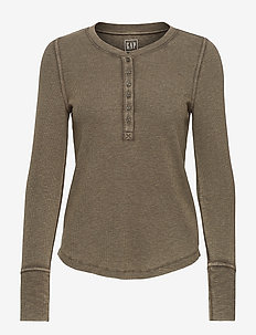 Ribbed Henley T-Shirt - long-sleeved tops - ripe olive