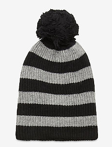 Reversible Pom Beanie - mutsen - black heather stripe