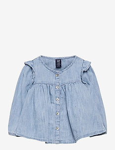 Baby Ruffle Denim Shirt - blusar & tunikor - denim 616