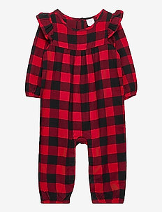 Baby Plaid One-Piece - long-sleeved - modern red 2