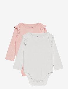 Baby Ruffle Long Sleeve Bodysuit - body - pink cameo