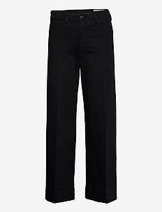 High Rise Wide-Leg Pants - wide leg trousers - true black