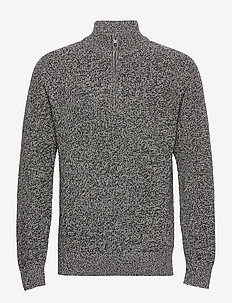 Mockneck Shaker Sweater - half zip jumpers - charcoal heather