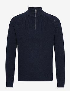 Mockneck Shaker Sweater - half zip jumpers - new classic navy