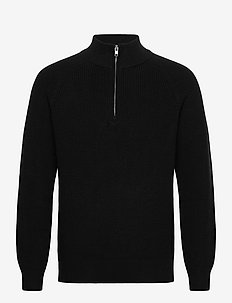 Mockneck Shaker Sweater - half zip jumpers - true black v2