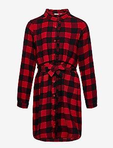 Kids Plaid Dress - sukienki - modern red 2