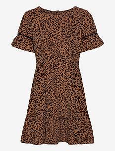 Kids Leopard Print Cord Dress - robes - leopard print