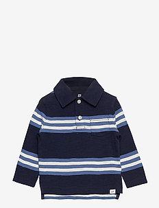 Toddler Long Sleeve Graphic Jersey Polo Shirt - pikeepaidat - navy stripe