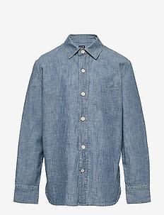 Kids Chambray Button-Up Shirt - koszule - medium wash