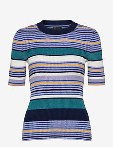 Ribbed Elbow Sleeve Sweater - knitted tops & t-shirts - blue stripe