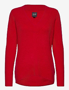 V-Neck Sweater - jumpers - red heather