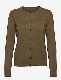 Button-Front Cardigan - gilets - olive heather b0611