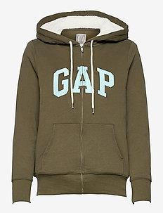 Gap Logo Sherpa Hoodie - hoodies - black moss