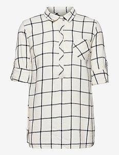 Maternity Plaid Shirt - long-sleeved shirts - white windowpane
