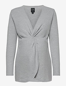 Maternity Twist-Front Layer Top - long sleeved blouses - light heather grey