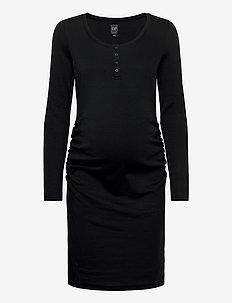 Maternity Scoopneck Henley Dress - midi dresses - true black