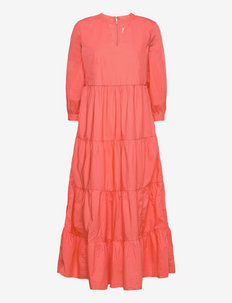 Tiered Split-Neck Dress - maxi dresses - pink reef 2