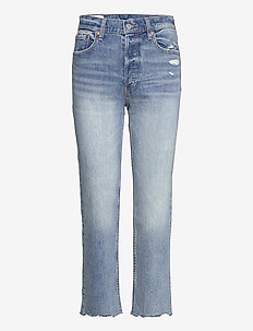 High Rise Distressed Cheeky Straight Jeans With Washwell&# - straight jeans - light indigo 6