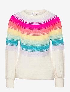 Kid Yoke Rainbow Stripe Crewneck Sweater - strickmode - ivory frost