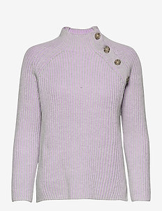Asymmetrical Button Mockneck Raglan Sweater - jumpers - lilac