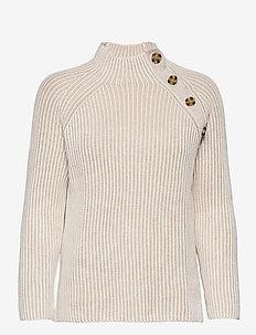 Asymmetrical Button Mockneck Raglan Sweater - jumpers - marshmallow 11-4300tcx