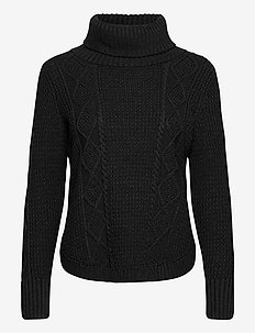 Cable Knit Turtleneck Sweater - rullekraver - charcoal