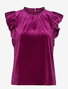 Sleeveless Velvet Ruffle Top - sleeveless blouses - exotic fuchsia