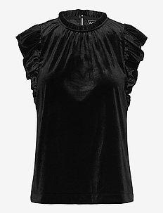 Sleeveless Velvet Ruffle Top - blouses zonder mouwen - true black
