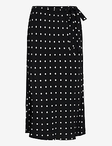 Side-Tie Midi Skirt - midi skirts - black dots