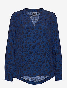Shirred Popover Top - long sleeved blouses - blue animal