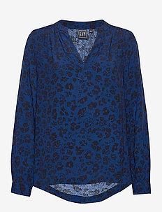 Shirred Popover Top - langærmede bluser - blue animal