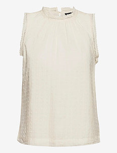 Shirred Lace Top - blouses zonder mouwen - ivory