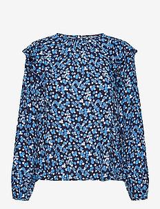 Ruffle Shoulder Top - long sleeved blouses - blue floral
