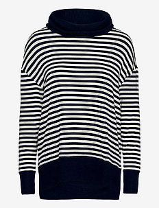 Softspun Cowl-Neck Top - turtlenecks - navy stripe