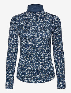 Funnel-Neck Print T-Shirt - long-sleeved tops - blue floral