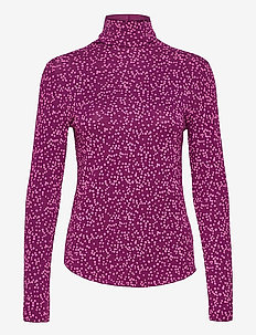 Funnel-Neck Print T-Shirt - long-sleeved tops - pink floral 1