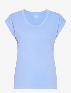 Relaxed V-Neck T-Shirt - t-shirts - distant blue