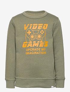Kids Recycled Graphic Crewneck Sweatshirt - sweatshirts - mesculen green
