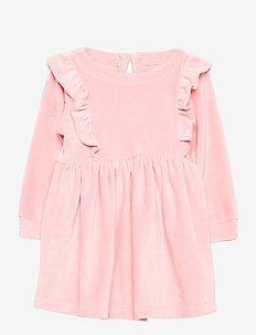 Toddler Velour Ruffle Skater Dress - kleider - pink standard
