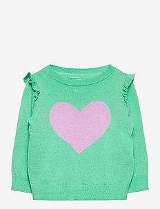 Toddler Ruffle Graphic Crewneck Sweater - gebreid - hearts