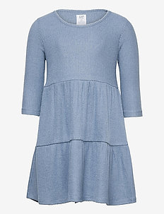 Kids Softspun Tiered Dress - kleider - bainbridge blue