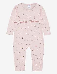 Baby Ruffle Waffle One-Piece - langærmede - pink cameo
