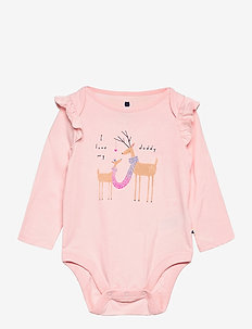 Baby Mix and Match Ruffle Graphic Bodysuit - lange mouwen - pink cameo