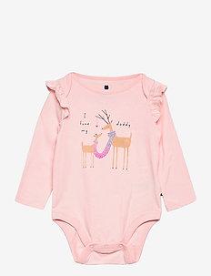 Baby Mix and Match Ruffle Graphic Bodysuit - långärmat - pink cameo