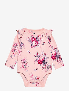 Baby Mix and Match Ruffle Floral Bodysuit - långärmat - pink cameo