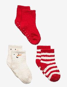 Baby Cozy Socks (3-Pack) - halksockor - fr modern red