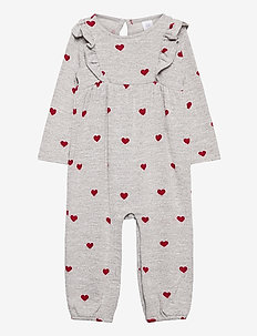 Baby Softspun Ruffle One-Piece - langärmelig - grey/red