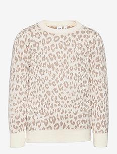 Kids Leopard Print Crewneck Sweater - sweatshirts - ivory frost