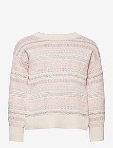Kids Fair Isle Stripe Sweater - gebreid - french vanilla