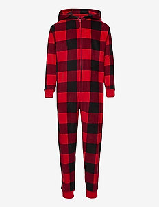 Kids Plaid Hoodie One-Piece - långärmade - fr modern red